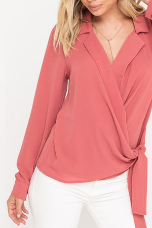 Surplice Wrapped Blouse