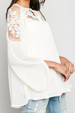 Sheer and Lace Peasant Blouse - Back In Stock!