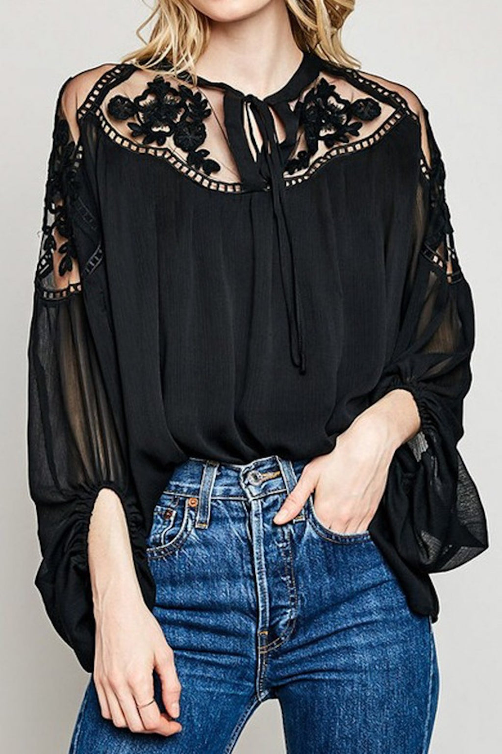 Sheer and Lace Peasant Blouse