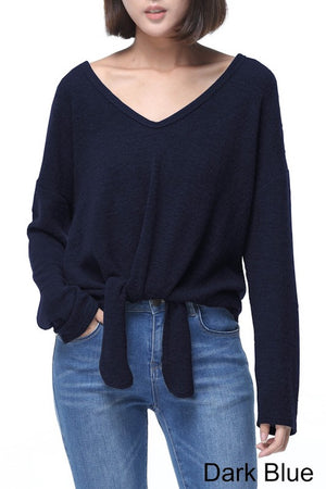 V-Neck Sweater With Front Tie