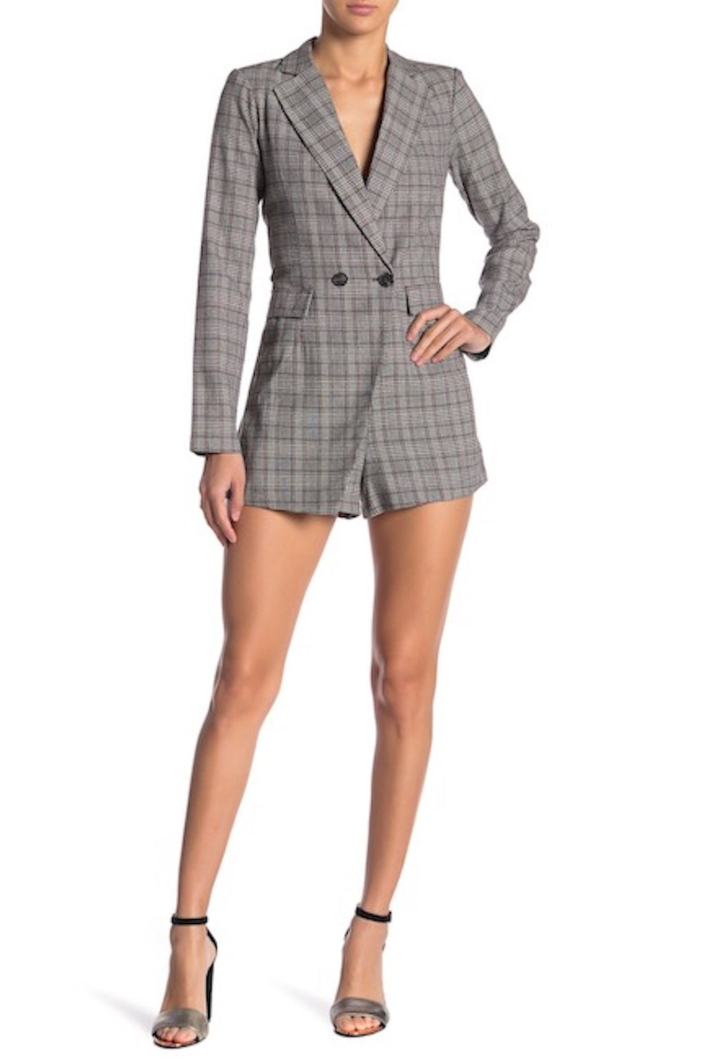 Double Breasted Plaid Romper