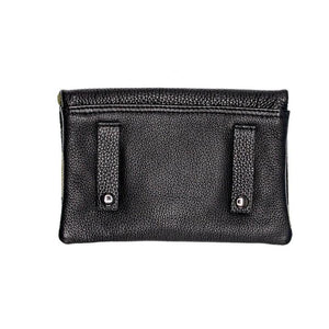 Black Ink Pebbled Leather Convertible Belt Bag