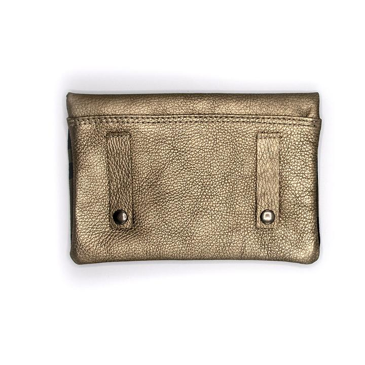 Pewter Pebbles Leather Belt Bag With Camo Interier