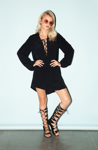 Long Sleeve Dress With Lace Up Neckline