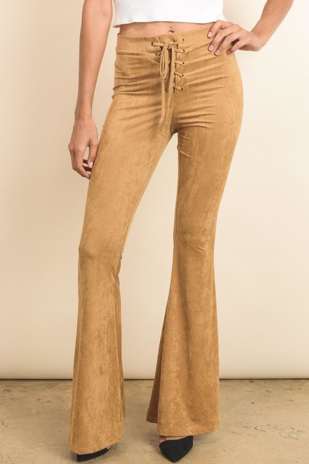 Flared Suede Leggings