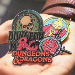 collection of the D&D enamel pins from the D&D limited edition jewelry colleciton