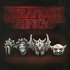 the beholder, idol, war duke and mind flayer rings from the han cholo D&D collection