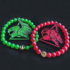 the green and red ranger bead bracelet from the han cholo mighty morphin power rangers jewelry collection