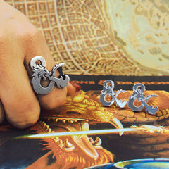 the sterling silver D&D logo ring and cufflinks from the Dungeons and Dragons jewelry colleciton
