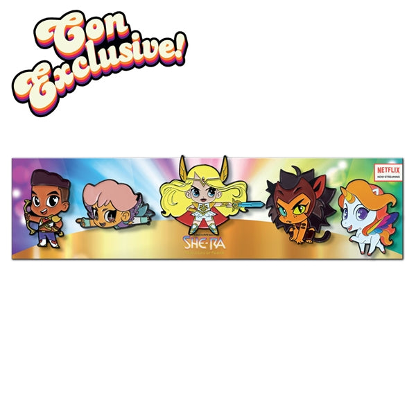 Shera princesses of power SPOP cute enamel pin set with best friend squad bow, glimmer, shera, Catra and swiftwind.