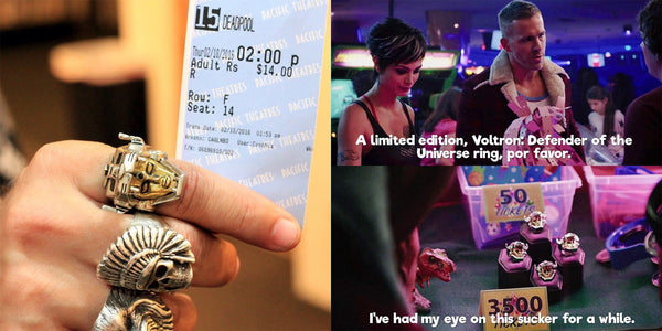 BANNER OF 2 SCREEN SHOTS FROM THE DEADPOOL MOVIE WITH RYAN REYNOLDS AND SHOT OF BRANDON SCHOOLHOUSE WEARING THE VOLTRON RING AND HOLDING THE MOVIE TICKET STUB FOR DEADPOOL