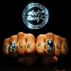 shot of two fists wearing the 2 daft punk helmet rings in silver with the chrome daft punk logo above it
