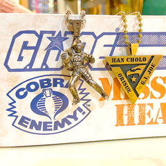 shot of the pendants from the han cholo GI JOE jewelry collection