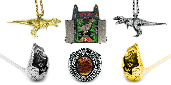 the banner for the Jurassic Park collection of jewelry from Han Cholo.