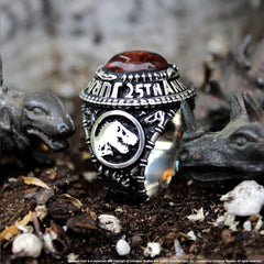 shot of the jurassic park class ring from the jurassic park jewelry collection