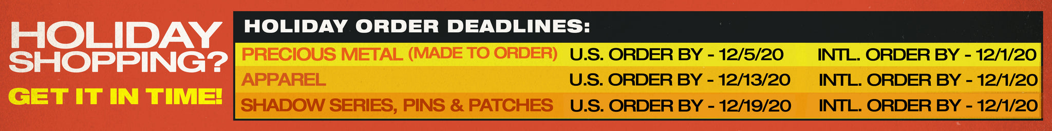 holiday deadlines, holiday cut off dates, holiday sale