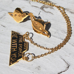 the yoda stud earrings and may the force be with you necklace in 24k gold from the limited edition star wars jewelrycollection