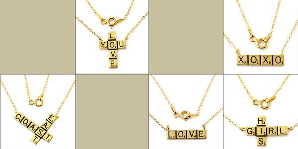 Banner for the Scrabble jewelry collection by Han Cholo