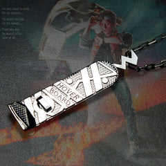 shot of the hover board pendant from the back to the future jewelry collection