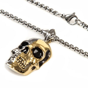 chain detail of the 2 tone skull pendant from the han cholo skulls collection