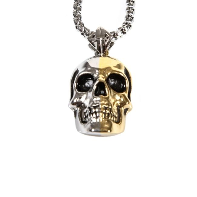 2-Tone Skull Pendant Gold/silver Ss Necklaces