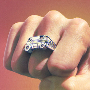 shot of The Van Damn Ring in silver on a mans fist form the han cholo cruising collection