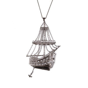 3D Ghost Ship Necklace Gunmetal Ss Necklaces