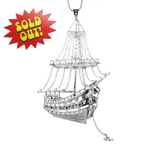 3D Ghost Ship Necklace Silver Ss Necklaces