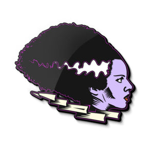 front of the bride of frankenstein enamel pin from the universal monsters jewelry collection