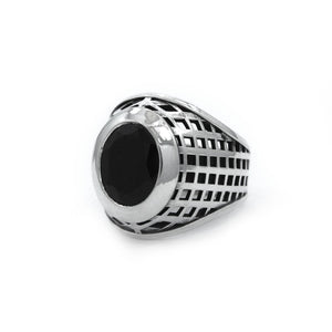 right angle of the Caged Class Ring in silver from the han cholo alien collection