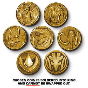 shot of all the power rangers coins in gold with a disclaimer at the bottom about soldering the coin
