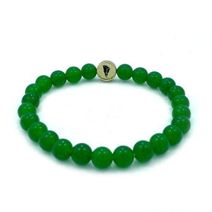 green ranger power ranger bead bracelet made of green aventurine showing MMPR logo on the coin