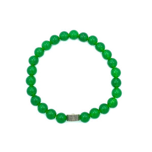 aerial view of the green ranger power ranger bead bracelet made of green aventurine