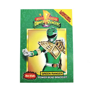 the front of the mighty morphin power rangerrs trading card showing the green ranger