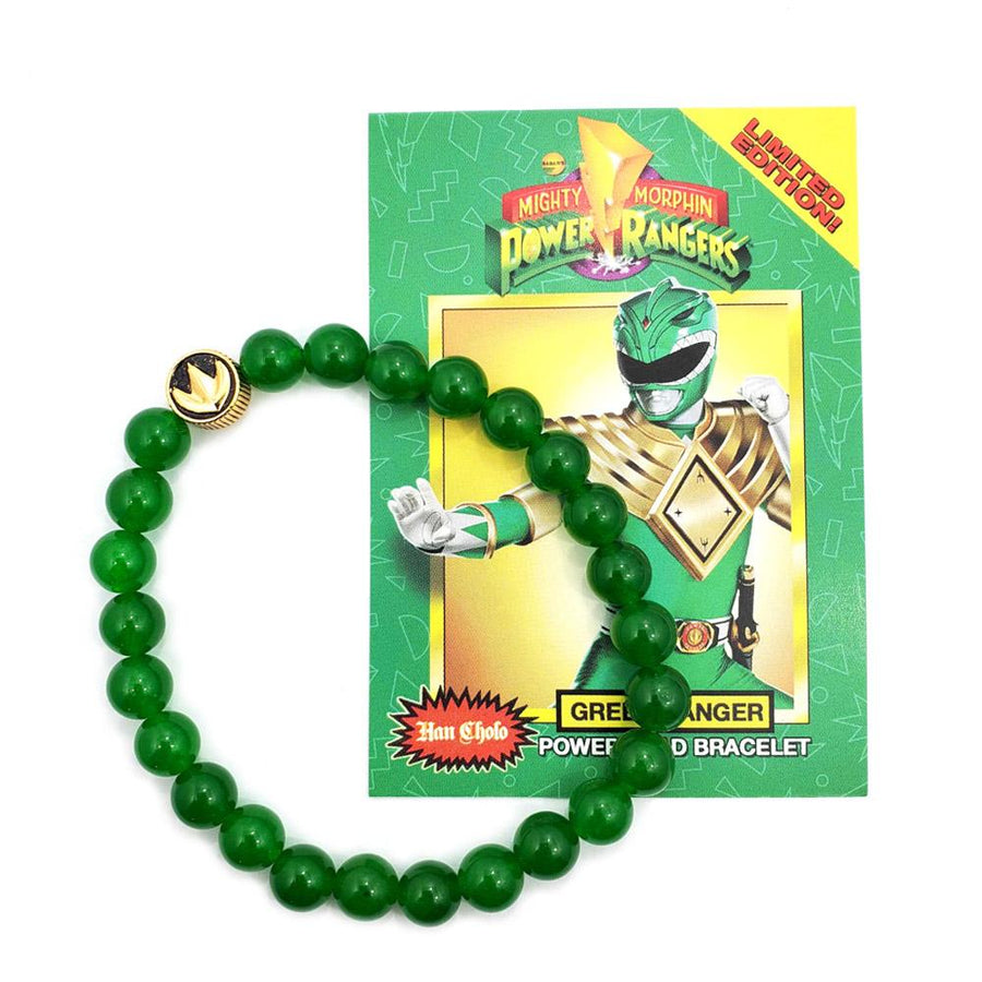 green ranger power ranger bead bracelet made of green aventurine showing dragon coin on bracelet
