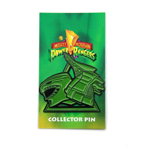 green ranger dragonzord enamel pin on the officially licensed power rangers pin card