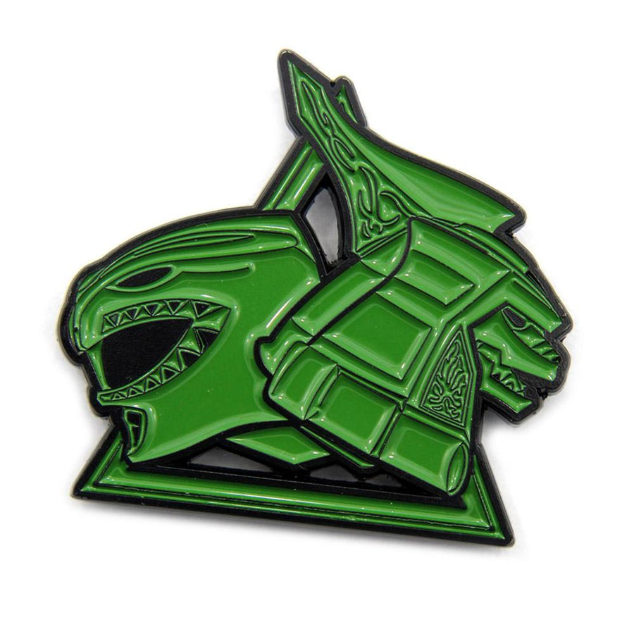 shot of the green ranger dragonzord enamel pin from the mighty morphin power rangers