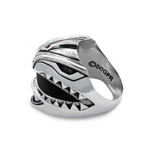 arial view of Green Ranger Helmet Ring from the mighty morphin power rangers on a white background