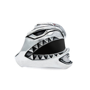 Green Ranger Helmet Ring from the mighty morphin power rangers side view on a white background