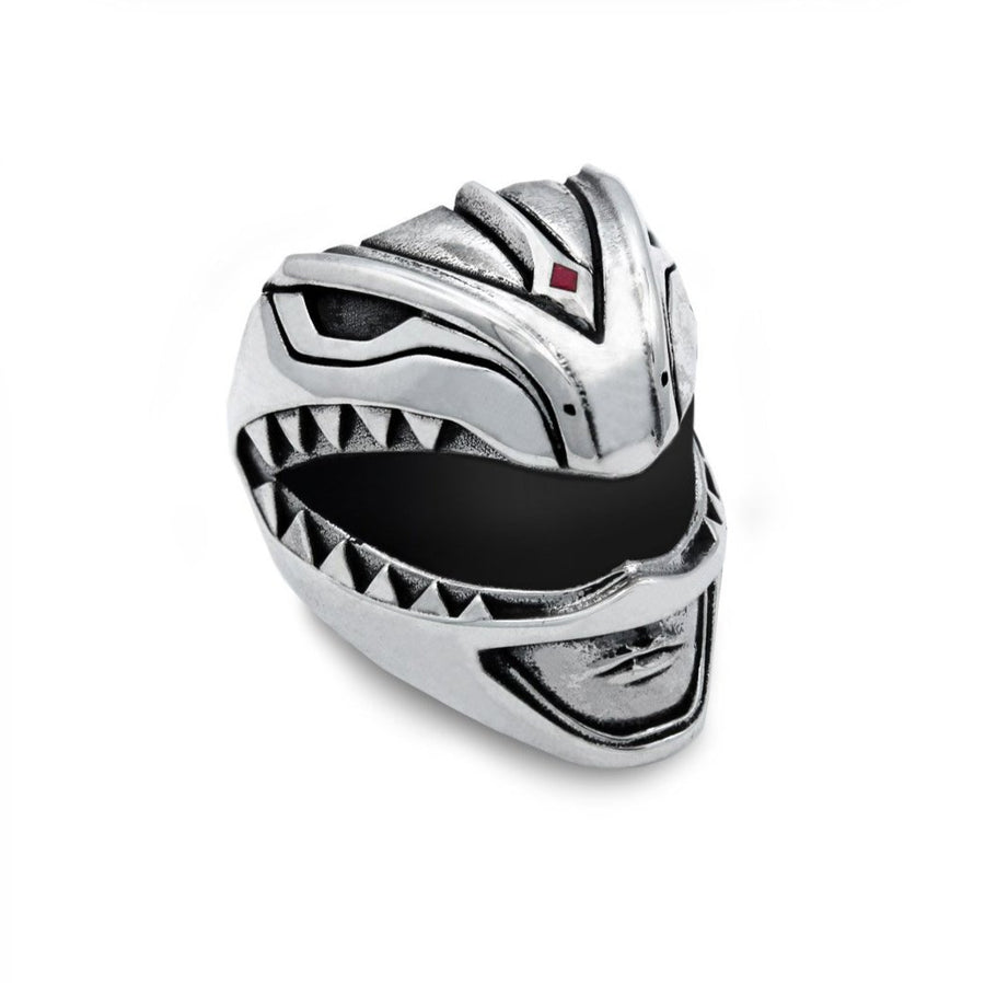Green Ranger Helmet Ring from the mighty morphin power rangers facing forward on a white background