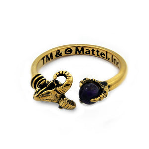 aerial shot of the Skeletor havoc Ring in gold  from the masters of the universe jewelry collection