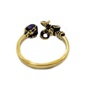 back of the Skeletor havoc Ring in gold from the masters of the universe jewelry collection