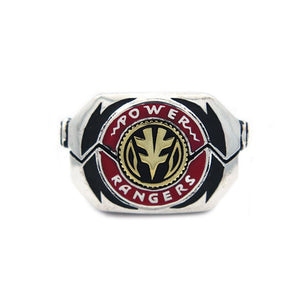 shot of the mighty morphin power rangers white tigerzord morpher coin on a white background