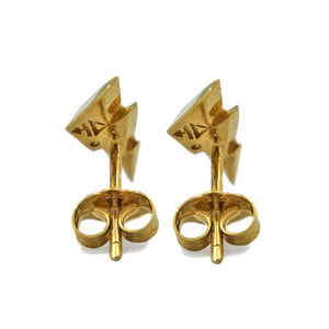 back view of the Mighty Morphin Power Rangers Bolt Earrings in gold on a white surface with shadow