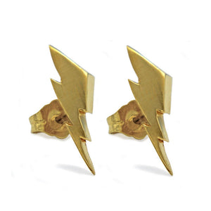 front view of the Mighty Morphin Power Rangers Bolt Earrings in gold on a white surface with shadow