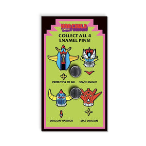 Back of Pincard for Enamel Pin featuring Dragon Warrior, Space Knight, Protector of MU, Star Dragon.