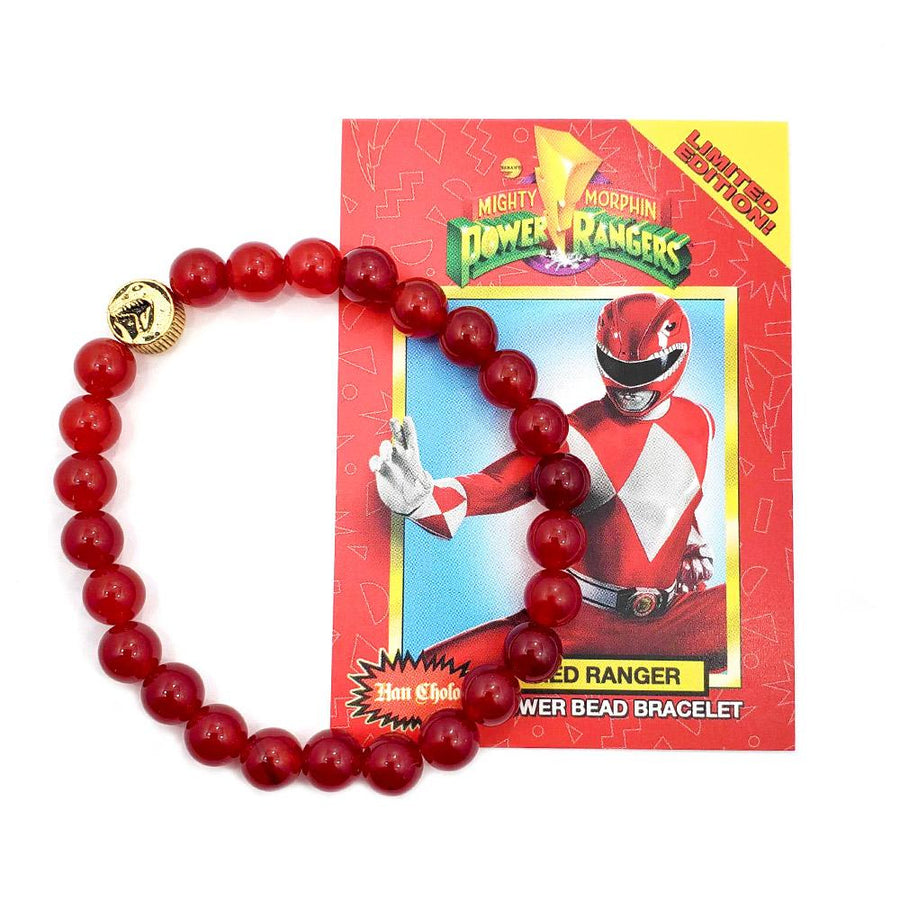 red agate power ranger bead bracelet made of red agate on a white surface showing trex coin
