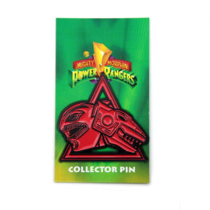 red ranger trex zord enamel pin on the officially licensed power rangers pin card