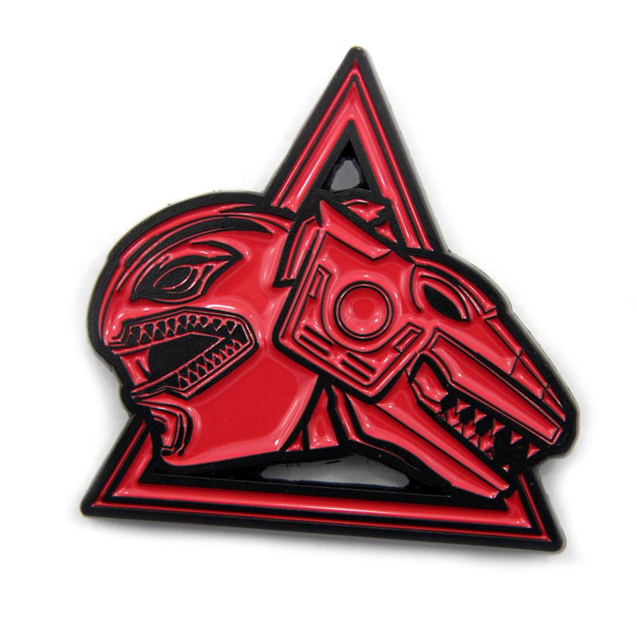 shot of the red ranger and trex zord enamel pin from the mighty morphin power rangers