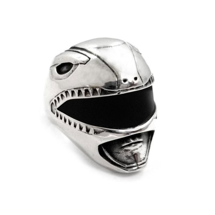 shot of the mighty morphin power rangers red ranger helmet ring on a white background